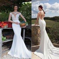 Wholesale 2016 Plus size Mermaid Wedding Dresses Deep V neck Illusion Bodice Mermaid Wedding Dresses Satin Vestidos De Novia