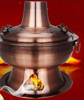Wholesale copper color stainless steel hot pot old fashioned traditional charcoal stove restaurant home stoves cm