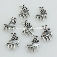 asian instruments - 21046 Vintage Silver Alloy Musical Instrument Music Piano Pendant Findings