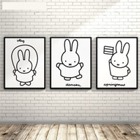 Wholesale Black White Nordic Minimalism Watercolor Miffy Rabbit Wall Pictures Canvas Painting Art Prints Poster Kids Room Home Decor