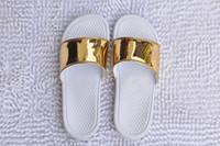Wholesale new arrival gold silver mens fashion causal sandals benassi men indoor or outdoor flat flip flops