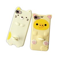apple pigs - 3D Cute Cartoon Cat Pig Case Cover For Apple iPhone Plus plus Case Silicone Series Funny Kickstand Case For Phone