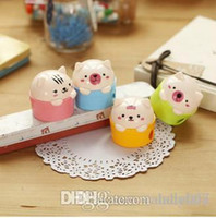 Wholesale Japanese Stationery Cute Plastic Metal Random Color Double Holes Pigs Pencil Sharpeners Office School Supplies Kawaii Stationery