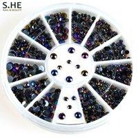 acrylic nail charms - pc Glitter Black Acrylic Nail Decoration Charms D Nail Art Gel Tips Rhinestone Manicure Gems Accessories