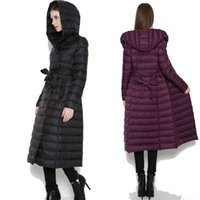 argyle fit - 2017 New Slim Fit Women Long Down Coat White Duck Down Warm Winter Jackets For Ladies Clothing Hooded Belted Coat