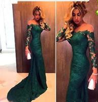 2017 Nuevos vestidos de noche largos de la sirena del cordón de las nuevas del verde esmeralda de los vestidos de noche del baile de fin de curso del baile de fin de curso de la ilusión
