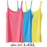 Wholesale L XL Plus Size Women Tops Camisole Leisure Tanks Fashion Classic T Shirt Solid High Quality Elasticity Cotton Modal Camis