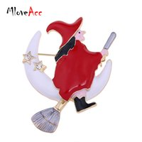 Men's besom brooms - Gold Plated Enamel Halloween Witch Besom Broom Moon Christmas Brooch Popular Red Christmas Gifts for the New Year Brooches Women