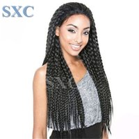 Wholesale Fashion Braiding Synthetic Lace Front Wig Straight Black inch Heat Resistant Hair Big Box Braids Woman Wig