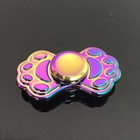 2017 EDC Fidget Spinner Hand colorful Two dog footprints weight Игрушки Rainbow Color Metal Gryo Новый стиль Spinner в розничной коробке