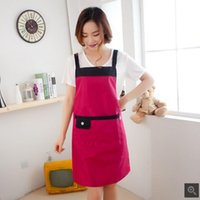 Wholesale T shoulder style sleeveless home aprons simple fashionable kitchen oil waterproof aprons gown four colors