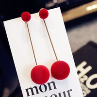 Wholesale Hairball temperament contracted long tassel earrings South Korea long pendant earrings earrings