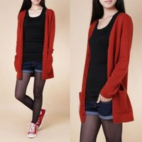 authentic ship models - New Winter Fashion Solid Color Knit Cardigan Sweater Bottoming Shirt Slim V neck Cardigan Burst Models Authentic