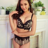 Wholesale Sexy Junior Bras - Japanese stripe lace sexy junior tops women bra set young girls pad thicken side gather young girls underwear lingerie sets