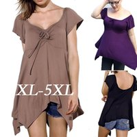 online shopping Mini Dress for Spring - XL-XXXXXL Sexy Spring Dress Loose Backless Bow Lace-up Casual Irregular Hem Blouse for Women Plus Size