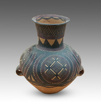 Wholesale Painted pottery printed earthenware gourd leaf pattern pottery