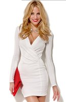 Wholesale 2016 Women Hot New Sexy V Neck Long Sleevel Dresses Mini Work Party Bodycon Dress White Red