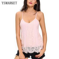 Wholesale Summer Tank Top Women Sexy Sleeveless V Neck Scalloped Lace Basic Tops Blusas Casual Vest Camisole Ladies Tops Women E25795