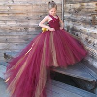 Wholesale Red and Yellow Flowers Baby Girls Tutu Dress Fashion Style for Wedding Decoration Party Years Old Pageant Dresses