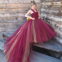 al por mayor vestidos del desfile de 11 años-Rojo y amarillo flores bebé niñas vestido de tutú Estilo de la moda para el partido de la decoración de la boda 2-7 años de vestidos del desfile