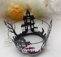 Baking Cups baking halloween - 50pcs halloween cupcake wrapper laser cut muffin cup cake cups wrappers pearl paper wedding party decoration supplies