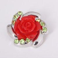 al por mayor rosas botón-10 PC vendiendo el patrón y el botón del broche de las rosas del rhinestone, conveniente para la joyería del botón del broche de presión de 18 milímetros, como el mejor regalo