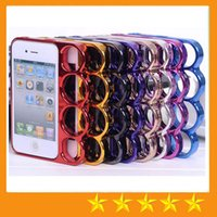 apple bran - Bran New Four Ring Border Knuckle Case PC Electroplating Metal Cell Phone Protector Frame Shell for iphone S S SE G inch