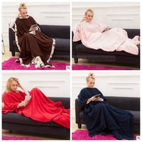 beds with tv - Adult Sleeve Blankets With Pocket Snuggie Fleece Blankets Winter Lazy TV Blanket Sofa Couch Blanket Soft Bedding Bathing Towels Robes B1415