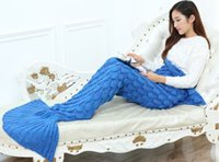 Wholesale Mermaid Blanket Yarn Knitted Mermaid Tail Blanket Handmade Crochet Soft Home Sofa Sleeping Bag Adults Sleeping