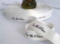 Acheter Ruban d'impression de gros pas cher-1/2 '' (13mm) ruban grosgrain bon marché en gros Favors personnalisés Ruban imprimé pour Fête de mariage de mariage favor 100yards / lot