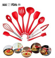 Wholesale Silicone Spatula Utensil Set Heat Resistant Non Stick Cooking Baking Utensils with Hygienic Solid Coating Spatula Set Pieces Red