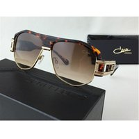 Wholesale Luxury Brand Mens Sunglasses Leopard Black Brown Semi Rimless Vintage Sunglasses Designer Men s Sunglasses With Brand Logo CZ