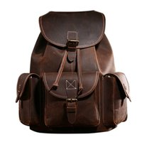 Backpacks Women European and American Style Free Shipping New Full Crazy Horse Genuine Cowhide Skin Leather Men Women's Travel Backpack School Student Day BackPack Notebook Laptop Bag