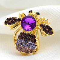 bee brooch pin - Beautiful bee small insect Brooch pin gold plated crystal Brooches women decoration jewelry high quality