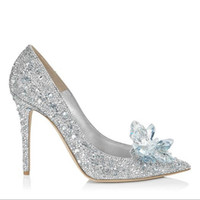 Wholesale 2016 new romantic bride wedding shoes bright and moving crystal shoes