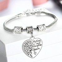 al por mayor pulsera de amor s-Venta al por mayor-2016 corazón pulsera de plata plateada amor entre la madre y la hija de regalos de la familia Día de la Madre del brazalete de joyería brazaletes encanto