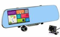 Cheap New Android 5.0 inch Rear View Mirror Car DVR Radar Detector GPS Navigation Car Camera Dual Lens 1080P Cam Video Recorder