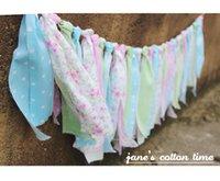 Vente en gros - Livraison gratuite tissu garland chiffon cravate bannière tissu bunting 2pcs / lot 1.8m / pcs Baby Girl Shower Wedding Deco Party Decor