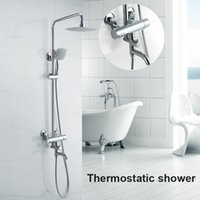 Wholesale Luxury High Quality Bathroom Chrome Rain Shower Set Thermostatic Mixer Shower Set Wall Mounted JM L