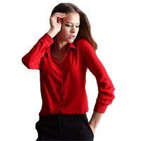 Wholesale 5 Colors Work Wear Woman Shirt Chiffon Blouse Femininas Tops Elegant Ladies Formal Office Blouse Plus Size XXL