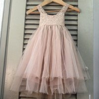 Wholesale Princess Girls Pageant Dresses Lace Bead Sequins Flower Girl Dress Floor Length Tiered Communication Wear
