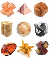 Wholesale Classic IQ Mind Brain Teaser D Wooden Interlocking Burr Puzzles Game for Adults and Kids