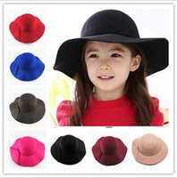Wholesale 2016 new Vintage Retro Kids Child Boy Girl Hats Fedora polyester Felt Crushable Wide Brim Cloche Floppy Sun Beach Cap