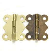 Wholesale 10pcs bronze Yellow Color Degree Folding Mini Butterfly Hinges Cabinet Drawer Jewelry Box DIY Repair