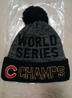 Wholesale 2016 New Chicago Cubs Beanie World Series Champs Heather Gray Pom Knit Hats Top Quality Sport Men Women Skull Caps C Winter Hat