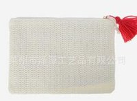 beige envelope clutch - Fashion Women Straw Handbag with Zipper