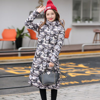 Wholesale Camouflage top quality coat new arrive winter female brand hooded length down jacket thicker plus size cotton padded Korean outerwear