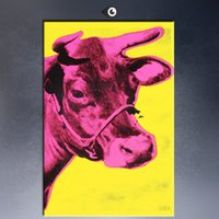 One Panel andy warhol arts - Andy Warhol Cow c1966 Yellow and Pink pop art paint Wall Painting picture Home abstract Decorative Art Picture