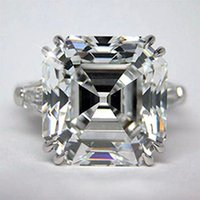 Three Stone Rings asscher diamonds - GIA CERTIFIED ASSCHER CUT STONE DIAMOND ENGAGEMENT RING PLATINUM