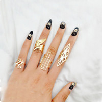 Wholesale New Fashion rings Geometric Leaf punk Rings Set Boho Hollow Flower Party Mid Finger Rings for Women Bijoux Jewelry set